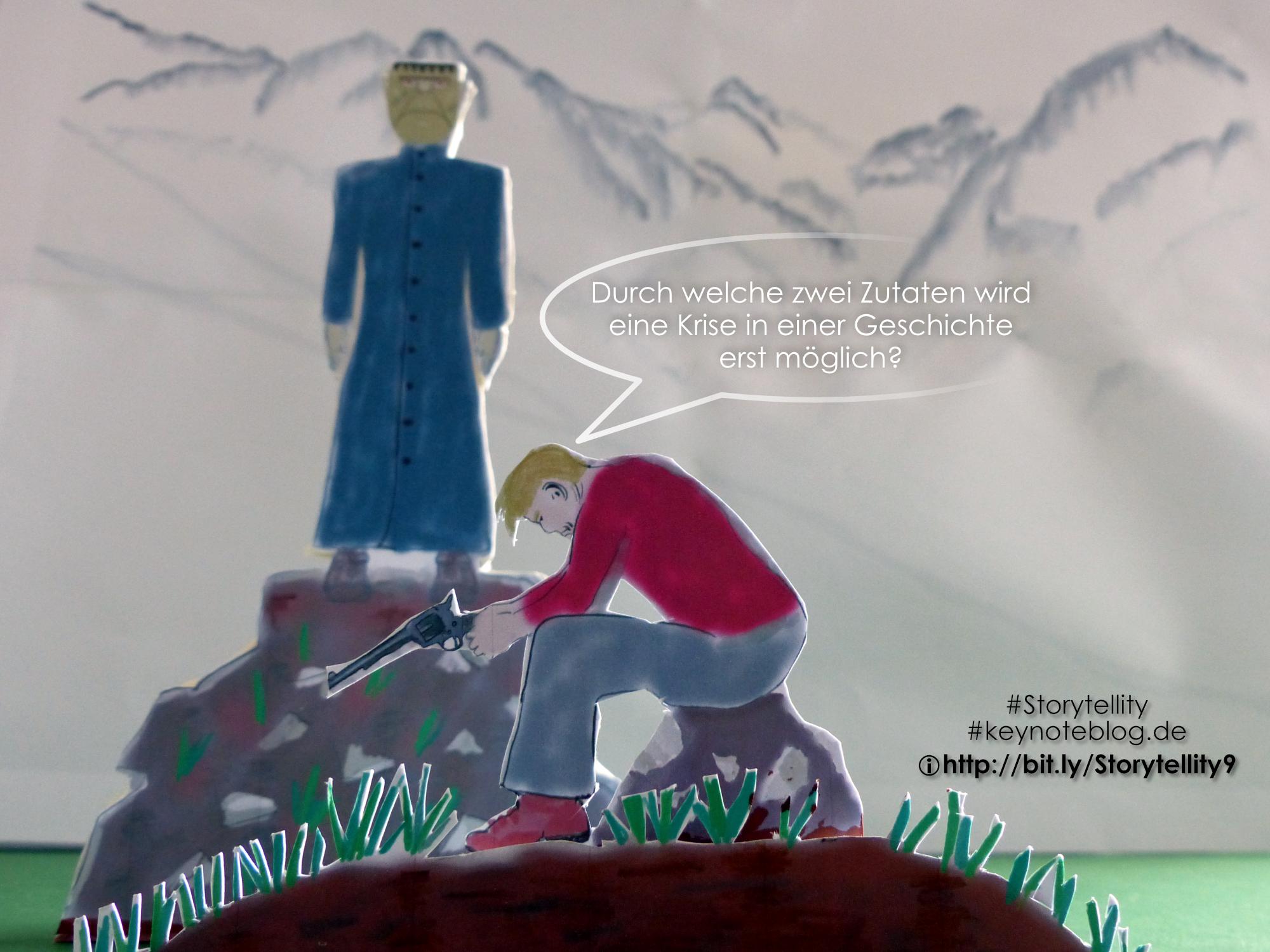 Dr. Frankenstein und sein Monster in den Alpen. Frankenstein hat eine Waffe, kann aber nicht abdrücken. Er fühlt sich deshalb schuldig.