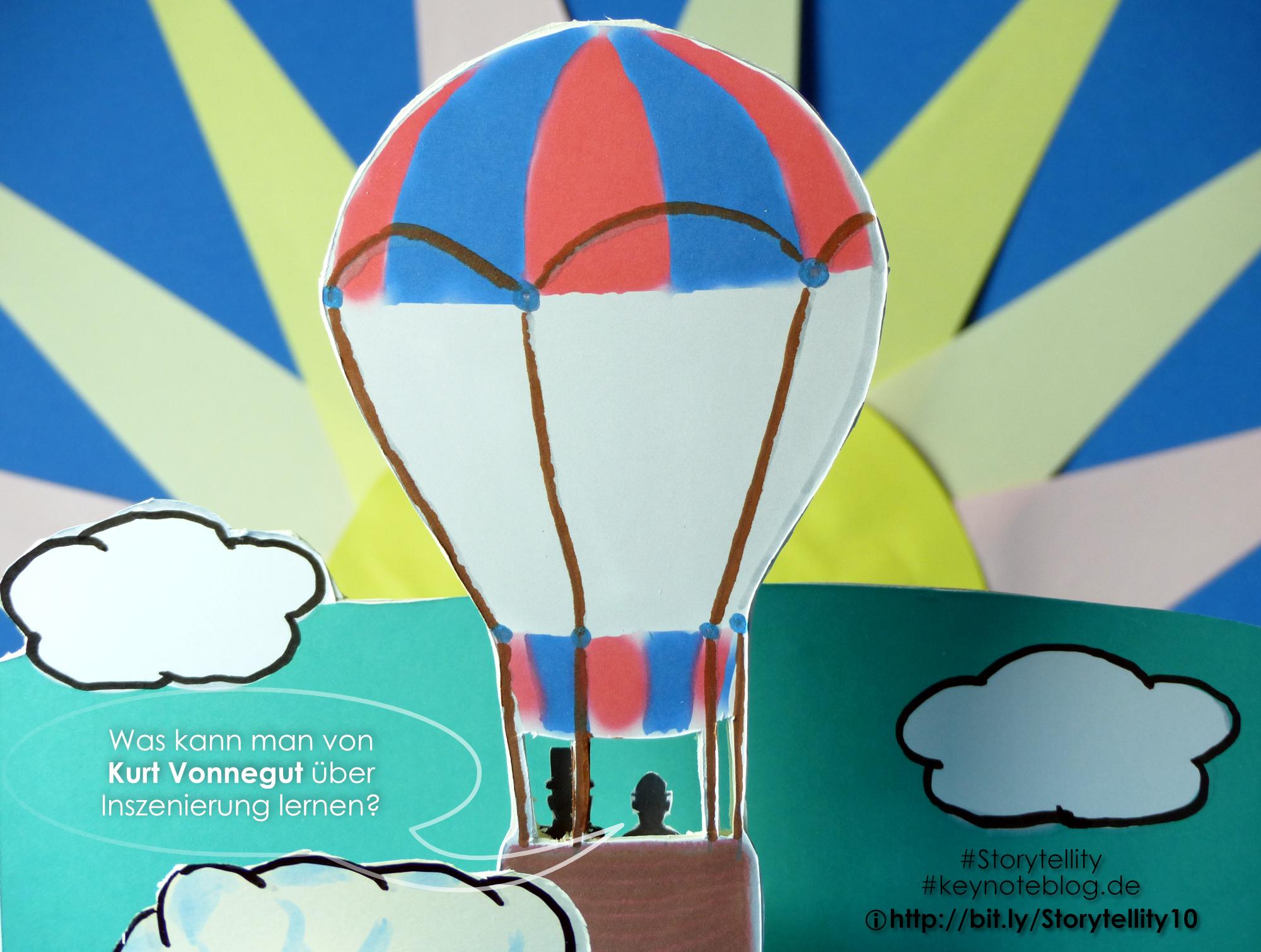Heißlufballon im Gegenlicht sieht man die Siluetten von Phileas Fogg und Jean Passpartous