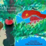 Die Schlange im Garten Eden verführt Eva, von der Frucht der Erkenntnis zu essen.