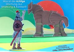 Odysseus preist sein Trojanisches Pferd an